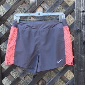 Nike grey w/ peach side stripe running shorts